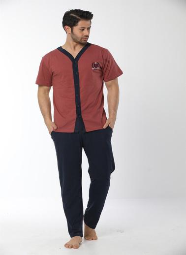 Akbeniz Erkek Kiremit Renk Önden Düğmeli Pijama Takım 6537 Kiremit